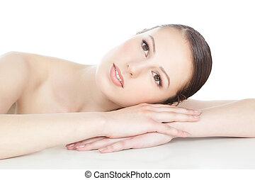 piękna kobieta, na, twarz, czysty, skóra, biały