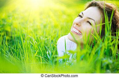 piękna kobieta, natura, wiosna, młody, outdoors, cieszący się