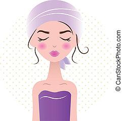 piękna kobieta, odprężając, purpurowy, (, odizolowany, ), zdrój, biały