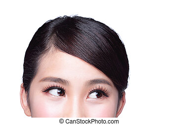 piękna kobieta, oko, patrzeć