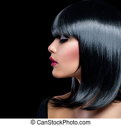 piękna kobieta, piękno, włosy, girl., krótki, brunetka, czarnoskóry