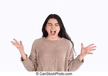 piękna kobieta, screaming., młody
