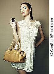 piękna kobieta, skóra, młody, torba, portret