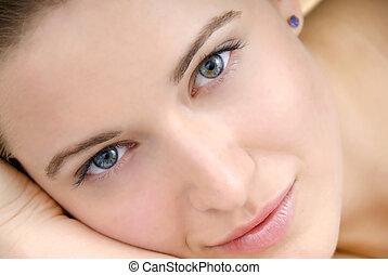 piękna kobieta, skóra