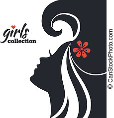 piękna kobieta, sylwetka, dziewczyny, zbiór, flowers.
