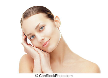 piękna kobieta, zdrowy, młody, czysty, skóra