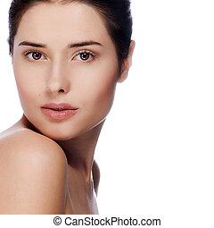 piękna kobieta, zdrowy, młody, skóra, portret