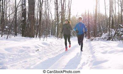 piękna kobieta, zima, młody, światło słoneczne, rano, forest., ślad bieg, park., człowiek
