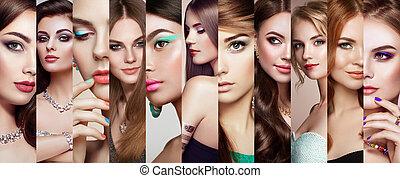 piękni kobiety, twarze, collage