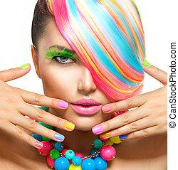 piękno, barwny, makijaż, przybory, włosy, portret, dziewczyna