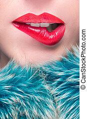 piękno, detail., lips., makijaż, warga, sexy, czerwony