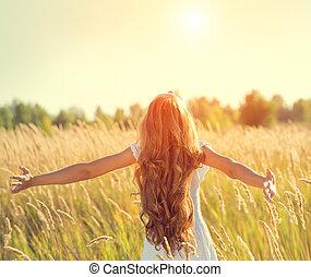 piękno, natura, kudły, siła robocza, dziewczyna, cieszący się, wychowywanie