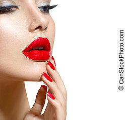 piękno, paznokcie, makijaż, usteczka, manicure, sexy, wzór, dziewczyna, czerwony, closeup.