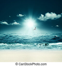 piękny, abstrakcyjny, tła, projektować, sea., marynarka, twój
