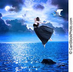 piękny, błękitne niebo, skokowy, dziewczyna nocy