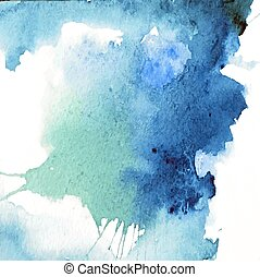 piękny, błękitny, akwarela, tło