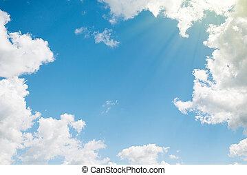 piękny, błękitny, chmury, tło., niebo