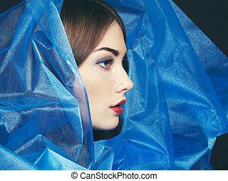 piękny, błękitny, fason, fotografia, pod, welon, kobiety
