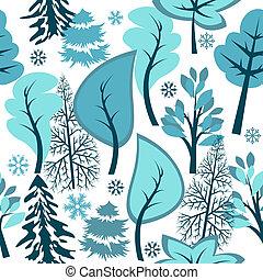 piękny, błękitny, zima, próbka, seamless, las