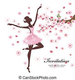 piękny, balerina, kwiaty