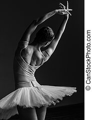 piękny, balerina, przedstawianie, studio, młody