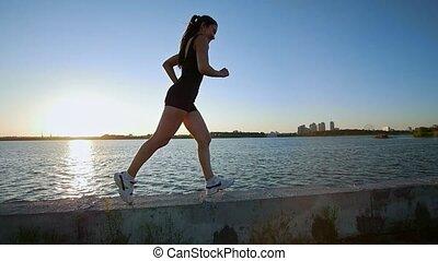 piękny, blisko wody, wyścigi, sporty, dziewczyna