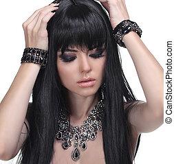 piękny, brunetka, biżuteria, zdrowy, fotografia, hair., długi, girl., fason, beauty.
