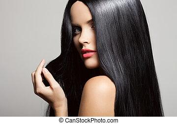 piękny, brunetka, piękno, zdrowy, długi, girl., w, hair., wzór
