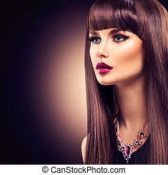 piękny, brunetka, zdrowy, kudły, dziewczyna