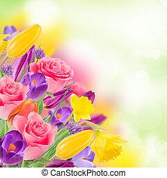 piękny, bukiet, flowers.