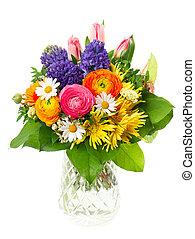 piękny, bukiet, kwiaty, barwny, wiosna