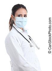 piękny, chirurg, kobieta, maska, doktor