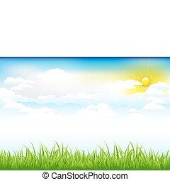 piękny, chmury, zielony krajobraz