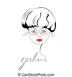 piękny, chodząc, kobieta, okulary, portret