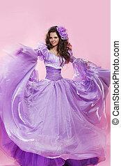 piękny, chodząc, kobieta, szyfon, piękno, pink., strój, na, photo., długi, brunetka, dziewczyna, fason