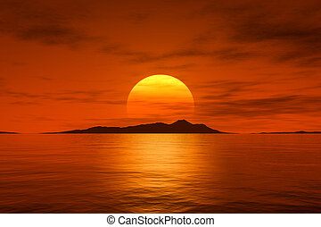 piękny, cielna, na, ocean, kaprys, zachód słońca