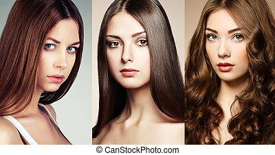 piękny, collage, kobiety, twarze
