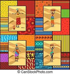 piękny, dekoracyjny, komplet, ubrany, afrykanin, dziewczyny, seamless, zbiór, struktura, etniczny, chorągwie