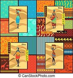 piękny, dekoracyjny, komplet, ubrany, dziewczyny, seamless, zbiór, struktura, afrykanin, bilety