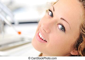 piękny, dentysta, kobieta, młody, biuro
