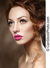 piękny, doskonały, fason, piękno, kędzierzawy, zdrowy, gładki, długi, skin., kobieta, włosy, makeup., szykowny, wzór, dziewczyna, czerwony, eyelashes.