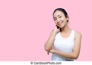 piękny, doskonały, jej, piękno, młody, skin., dotykanie, samica, healthcare, portret, woman.