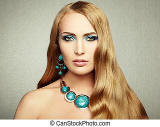 piękny, doskonały, kobieta, fotografia, makijaż, wspaniały, hair.