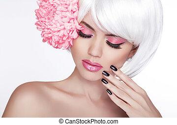 piękny, doskonały, kobieta, samica, bez, piękno, face., makijaż, tło, odizolowany, manicured, flower., jej, świeży, blond, zdrój, skin., portret, biały, dotykanie, nails.