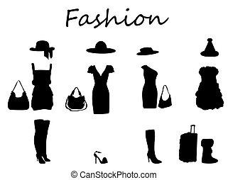 piękny, dress., illustration., &, wektor, fason, czarnoskóry, white.