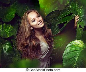 piękny, dziewczyna, dżungla