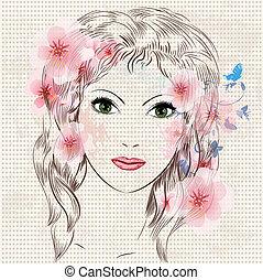 piękny, dziewczyna, fason, kwiaty, twarz
