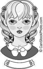 piękny, dziewczyna, portrait., hair.