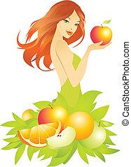 piękny, dziewczyna, wektor, ilustracja, owoce