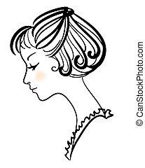 piękny, dziewczyna, wektor, ilustracja, twarz